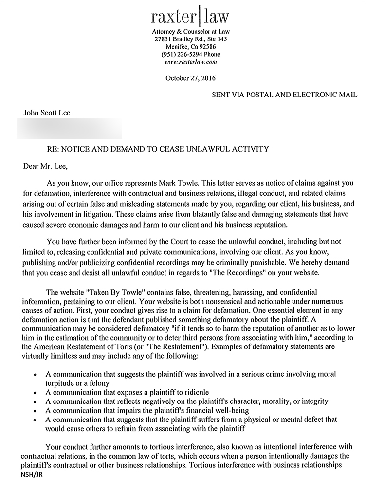 Cease and Desist Page 1